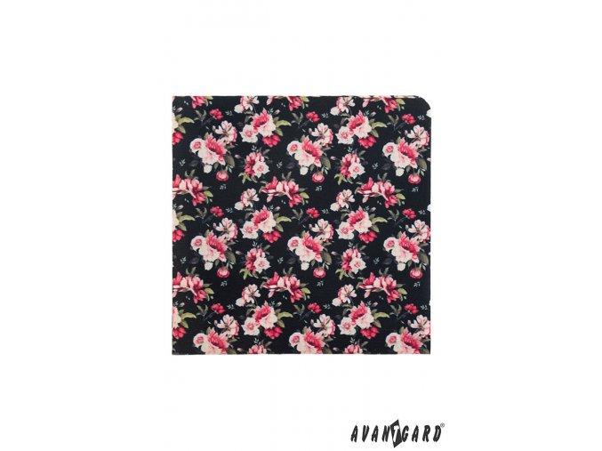 Černý kapesníček s růžovými květy