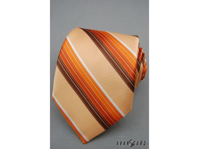 Světle oranžová luxusní kravata s oranžovými proužky _