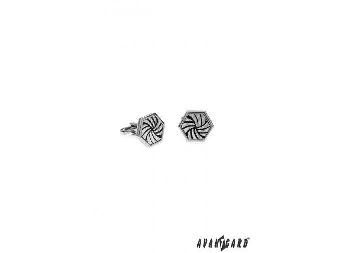 Stříbrné manžetové knoflíčky ve tvaru šestiúhelníku
