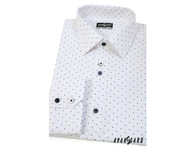 Bílá pánská slim fit košile s modrými tečkami, dl. rukáv, 125-0168