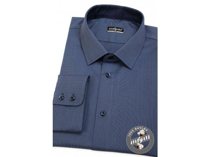 Modrá slim fit košile, dl.rukáv, 109-0631