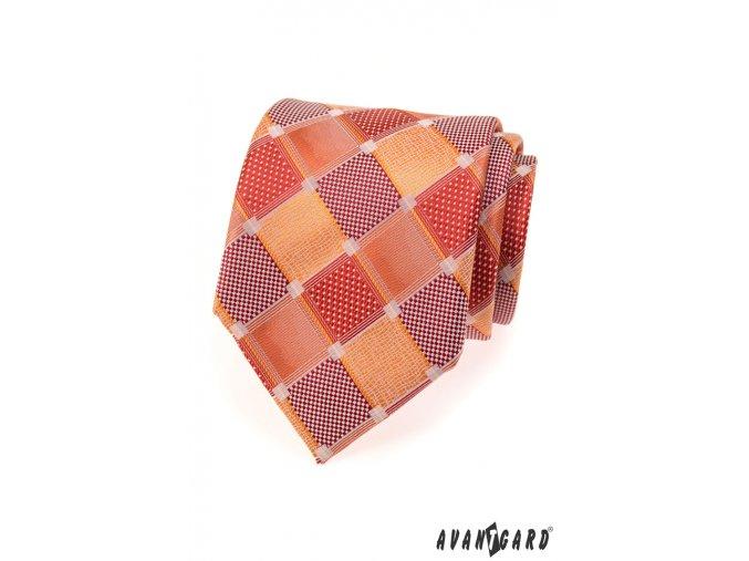 Kostkovaná velmi světle červená luxusní kravata