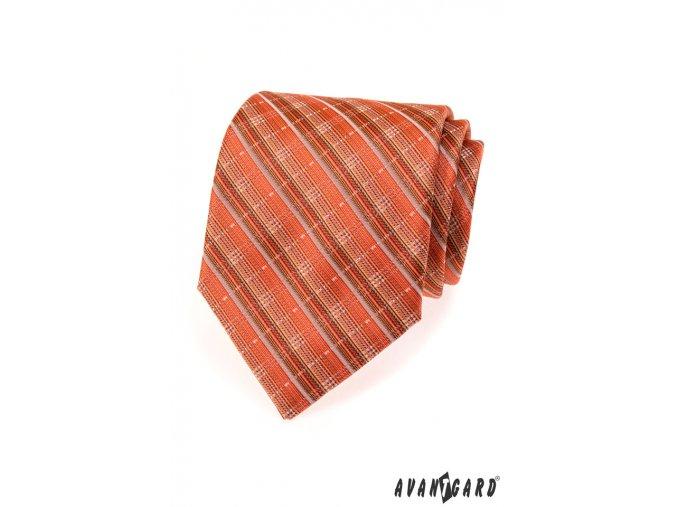Rozmanitě proužkovaná oranžová luxusní kravata