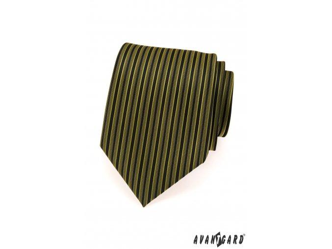 Tmavě zelená luxusní kravata se svislými proužky