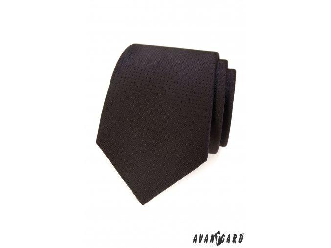 Hnědá kravata s hnědými tečkami