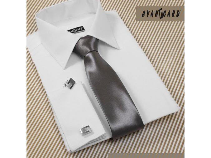 Světle grafitová jednobarevná jemně lesklá luxusní kravata