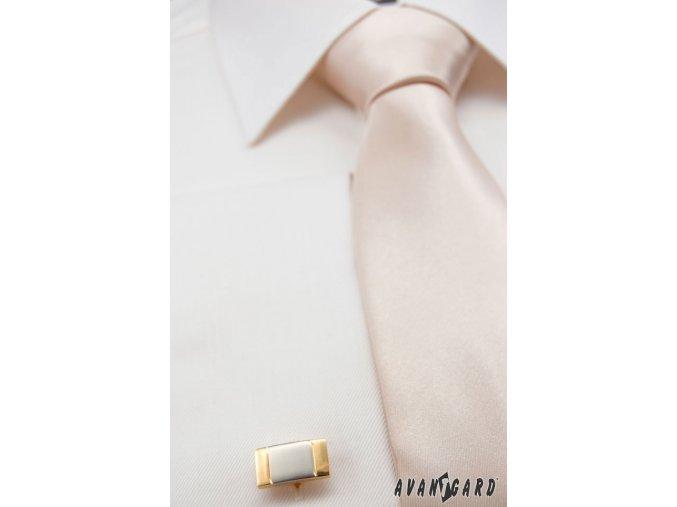 Ivory jemně lesklá jednobarevná luxusní kravata