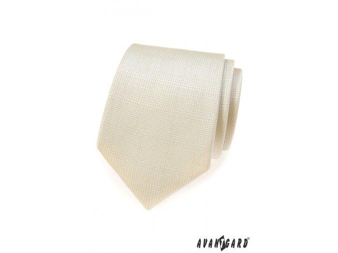 Smetanová kravata s jemnou vroubkovanou strukturou