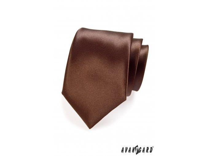 Hnědá luxusní jednobarevná jemně lesklá kravata