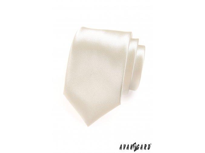 Světle smetanová jednobarevná jemně lesklá luxusní kravata