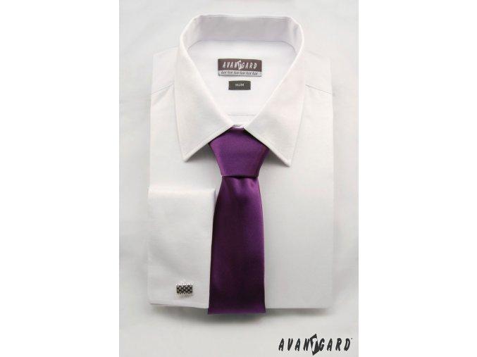 Zářivě tmavě fialová jemně lesklá luxusní kravata