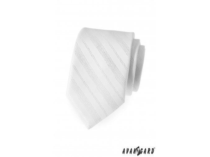 Bílá luxusní kravata s tenkými nenápadnými proužky