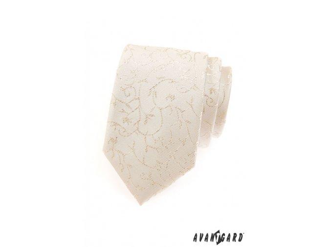 Smetanová třpytivě vzorovaná luxusní kravata