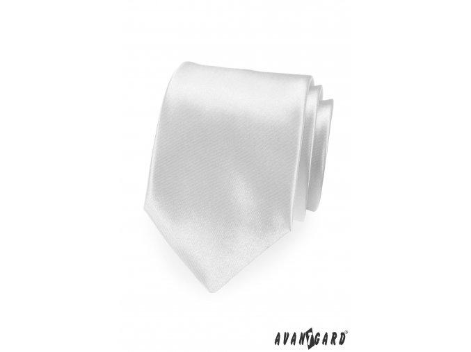 Bílá luxusní jemně lesklá jednobarevná kravata