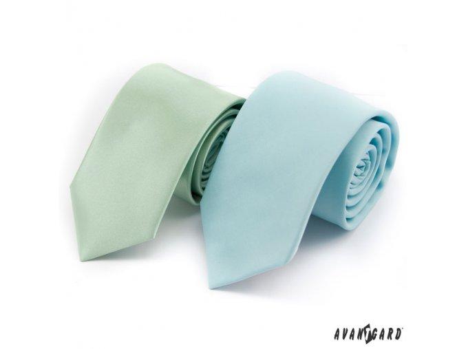 Světle zelená luxusní lesklá jednobarevná kravata