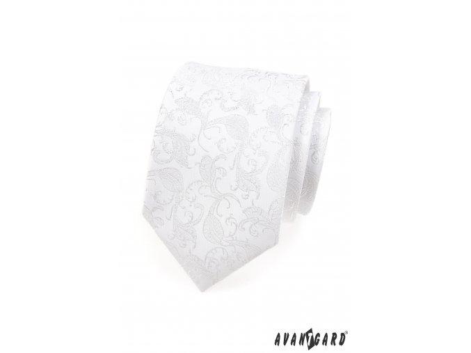 Bílá luxusní kravata s lesklým květovaným vzorem + kapesníček