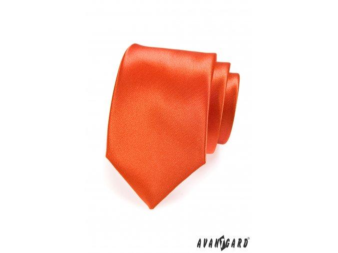 Zářivě oranžová luxusní jednobarevná jemně lesklá kravata