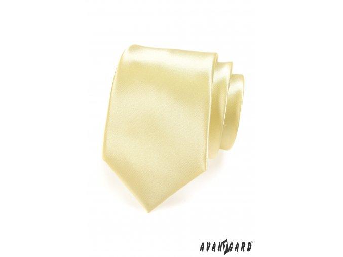 Velmi světle žlutá luxusní jemně lesklá kravata