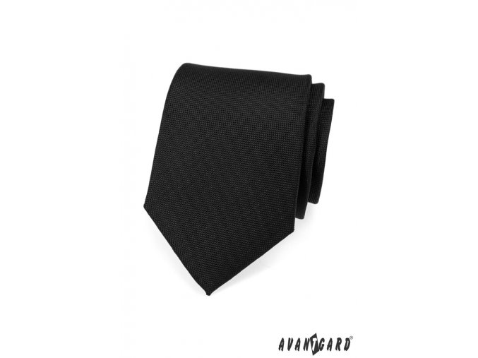 Černá matná kravata s jemnou vroubkovanou strukturou