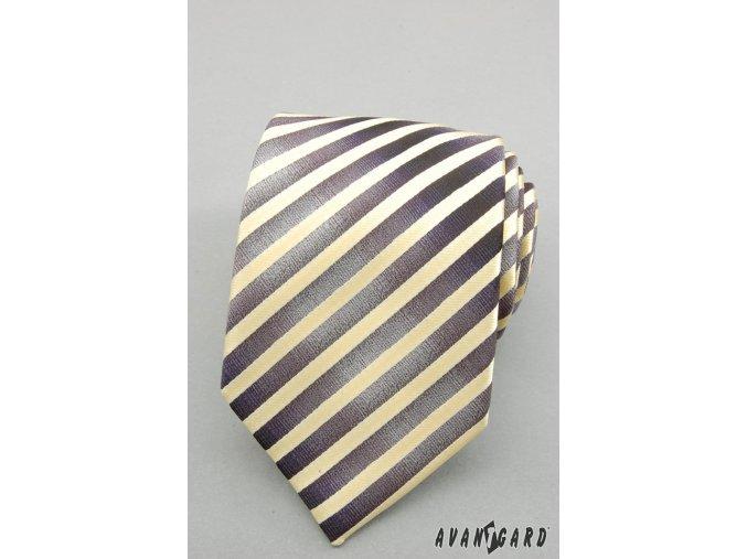 Žlutá proužkovaná luxusní kravata