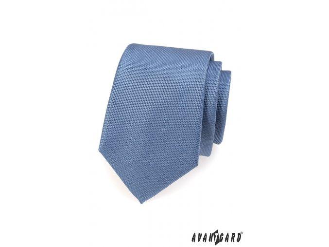 Modrá luxusní kravata s velmi drobným vzorem _