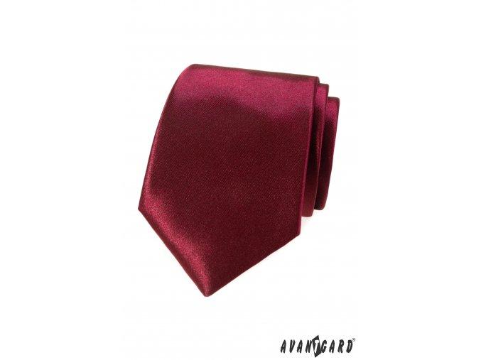 Bordó jednobarevná jemně lesklá luxusní kravata
