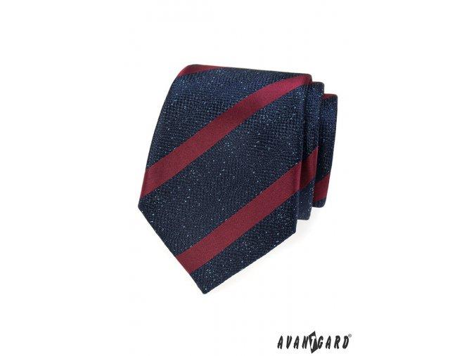 Tmavě modrá kravata s vínovými pruhy