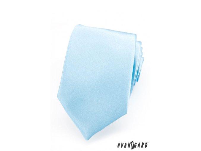 Velmi světle modrá luxusní jemně lesklá kravata bez vzoru _