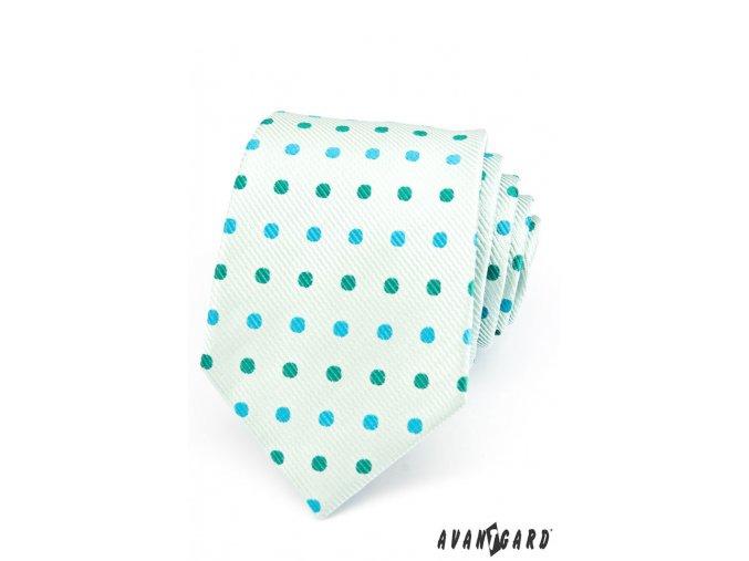Mátová puntíkovaná luxusní kravata se světlým podkladem