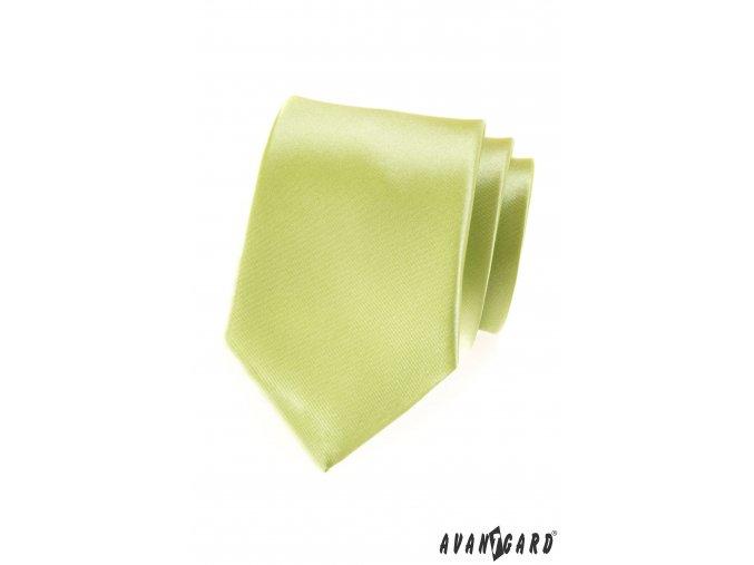 Limetková luxusní jemně lesklá kravata bez vzoru