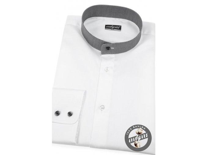 Bílá pánská slim fit košile s tmavým stojáčkem, dl.rukáv, 152-0163
