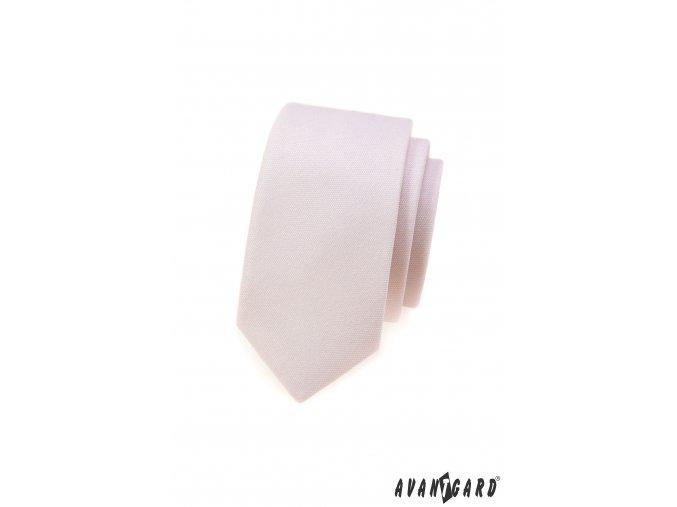 Velmi světle pudrová slim kravata