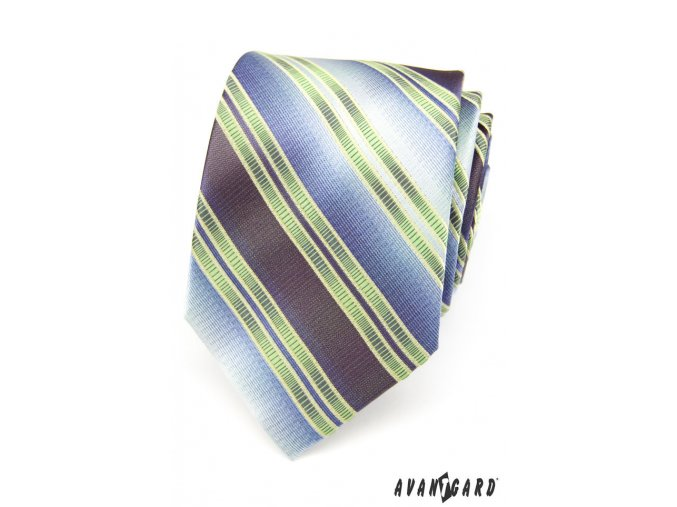 Světle zelená luxusní kravata se širokými modrými pruhy