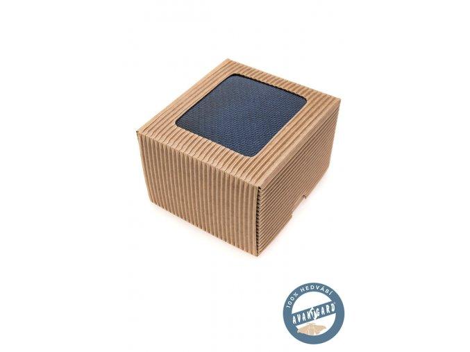Šedá hedvábná kravata s tmavými pruhy + krabička