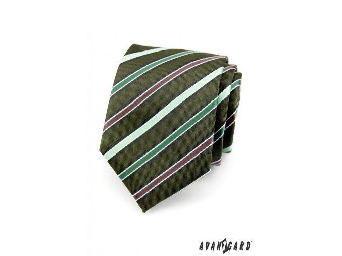 Tmavě zelená luxusní kravata s barevnými proužky