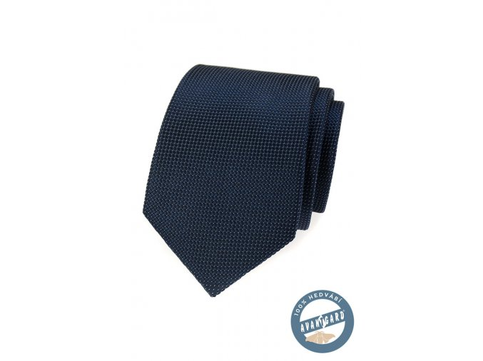 Tmavě modrá hedvábná kravata s jemnou mřížkou + krabička