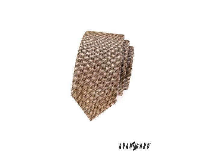 Béžová slim kravata z vroubkovaného materiálu