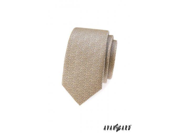 Béžová slim kravata s tmavým drobným vzorkem