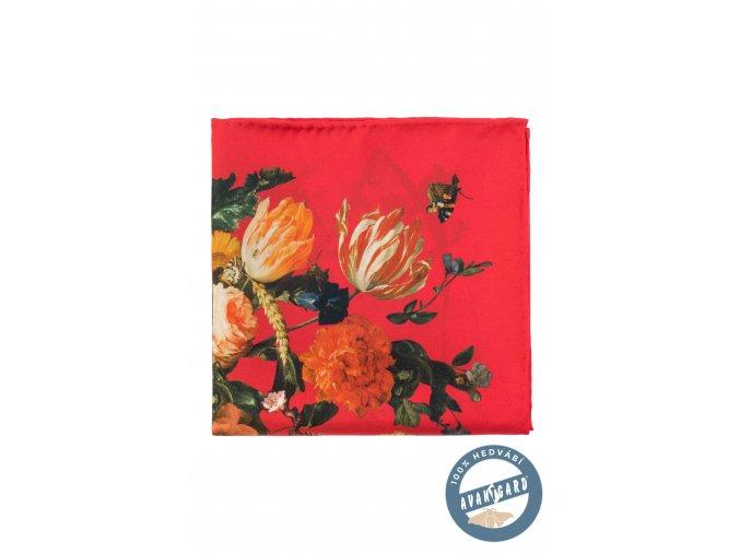 Červený hedvábný kapesníček s květovaným vzorem