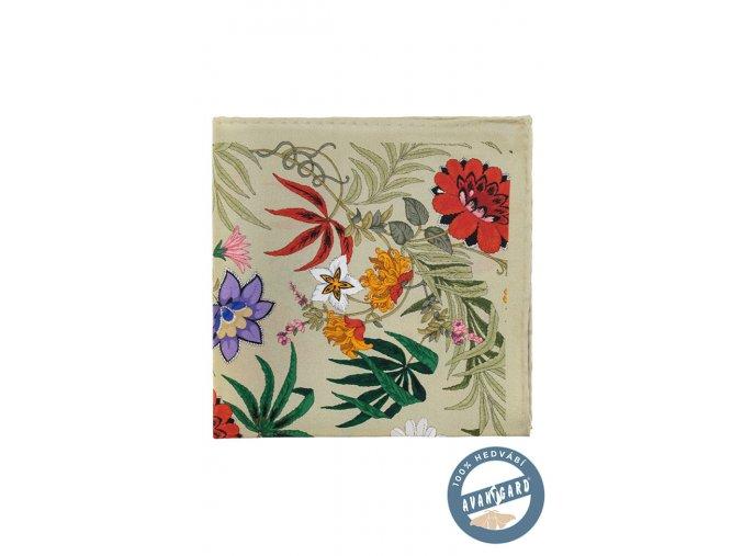 Olivový hedvábný kapesníček s květy