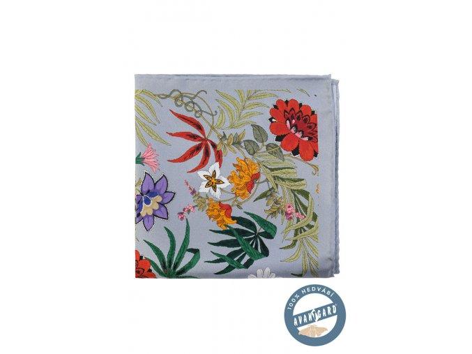 Šedý kapesníček s barevnými květy