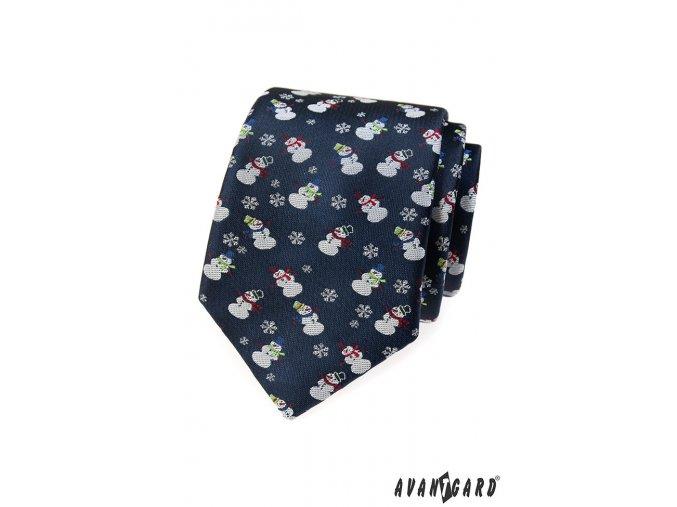 Tmavě modrá kravata se sněhuláčky