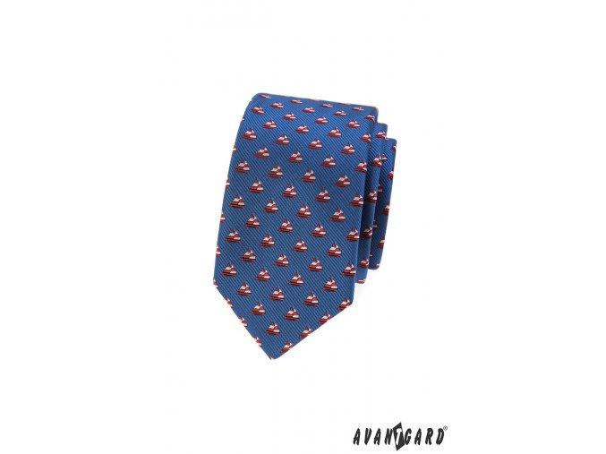 Modrá slim kravata se vzorem - červená plachetnice