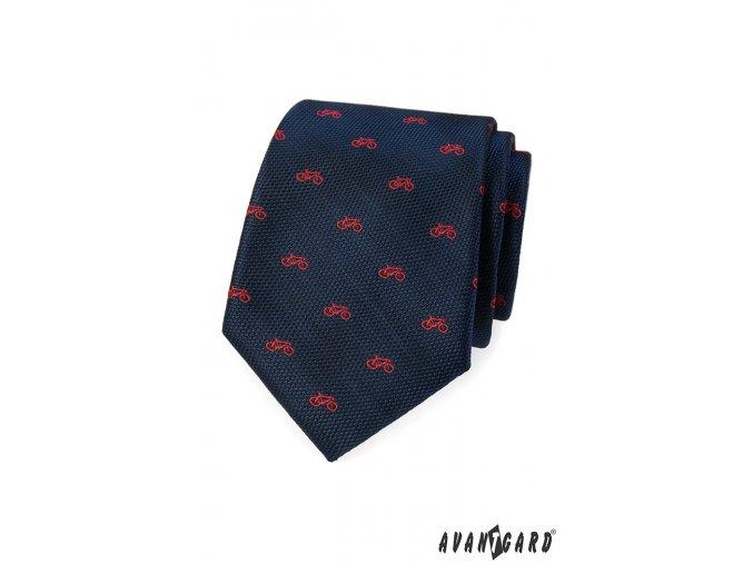 Tmavě modrá kravata s červeným vzorem - kolo