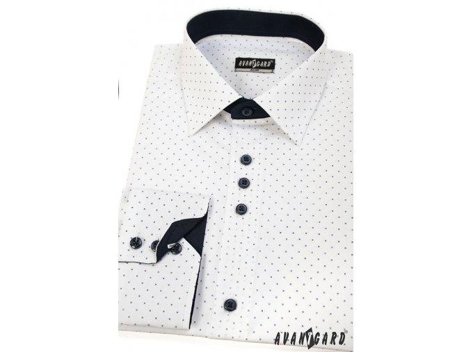 Bílá slim fit košile s modrými detaily, dl. rukáv, 125-0171