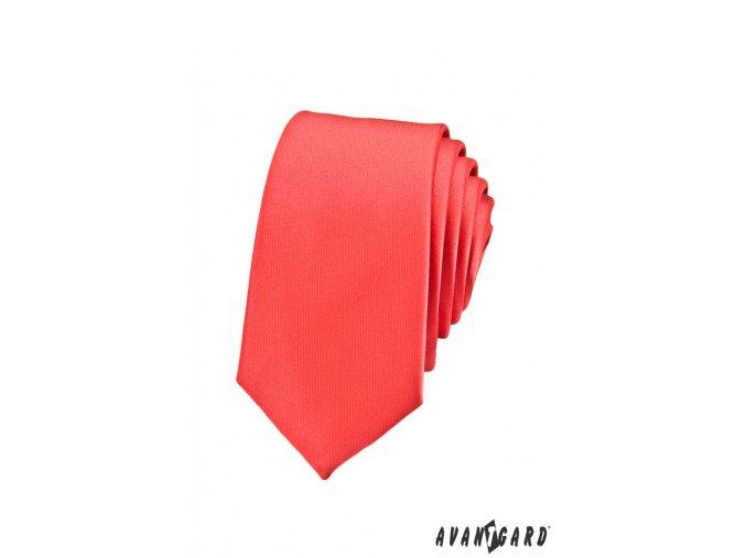 Korálová luxusní SLIM kravata bez vzoru