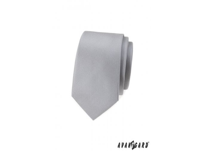 Velmi světle šedá luxusní SLIM kravata _
