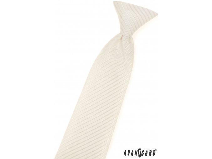 Smetanová dětská kravata s proužky