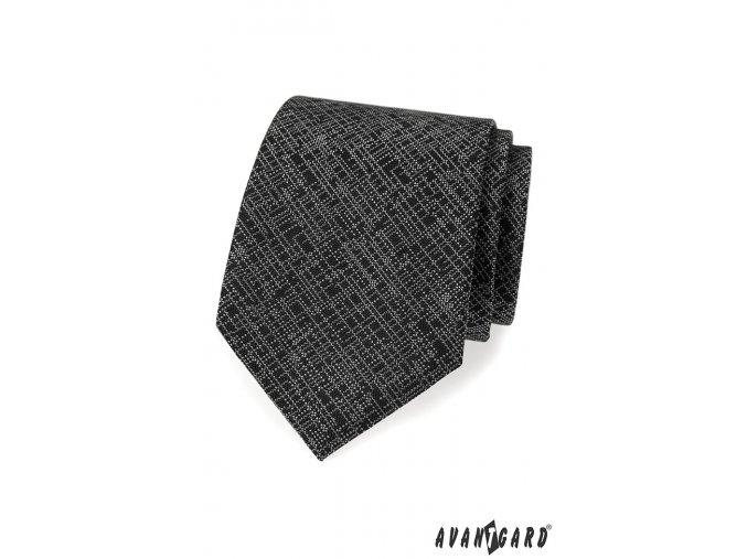 Černá kravata s tečkovaným vzorem + kapesníček do saka