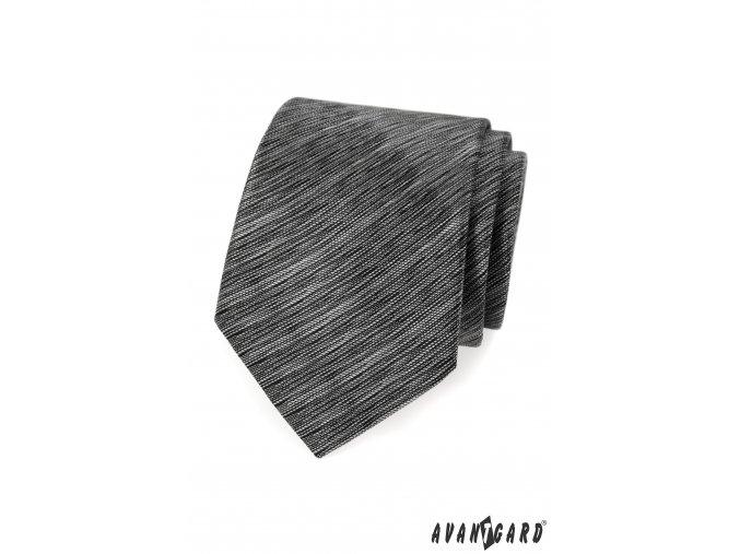 Šedá žíhaná kravata + kapesníček do saka
